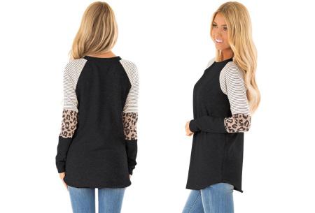 Dames top met lange mouwen   Trendy en origineel shirt met gedeeltelijke prints