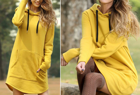 Sweater dress voor dames   Comfortabele en warme trui jurk met fleece binnenzijde Geel