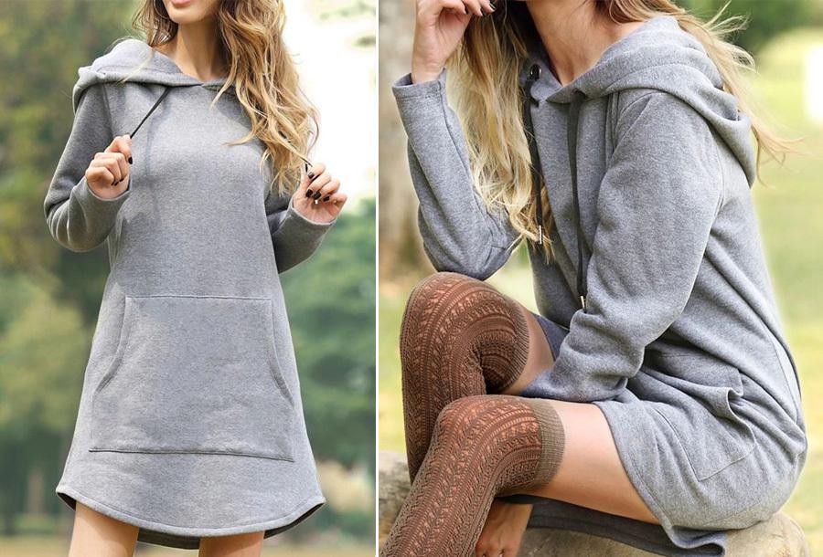 Sweater jurk - Maat L - Grijs