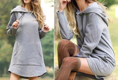 Sweater dress voor dames   Comfortabele en warme trui jurk met fleece binnenzijde Grijs