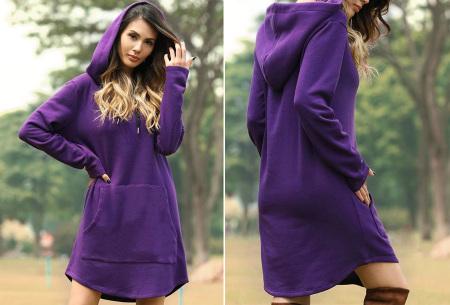 Sweater dress voor dames | Comfortabele en warme trui jurk met fleece binnenzijde Paars