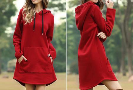 Sweater dress voor dames | Comfortabele en warme trui jurk met fleece binnenzijde Rood