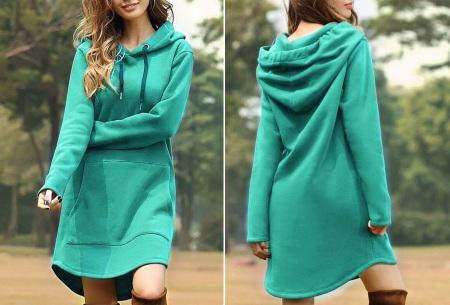 Sweater dress voor dames   Comfortabele en warme trui jurk met fleece binnenzijde Turquoise