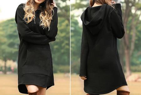 Sweater dress voor dames   Comfortabele en warme trui jurk met fleece binnenzijde Zwart