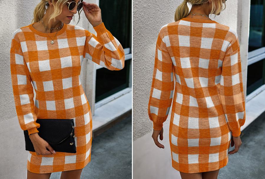 Geruite trui jurk Maat L - Oranje