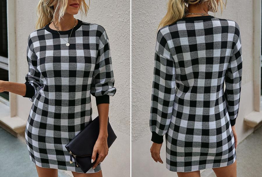 Geruite trui jurk Maat L - Zwart