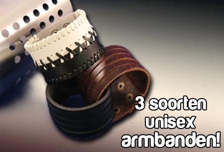 Lederen armband in 3 uitvoeringen van €19,95 voor €4,95!