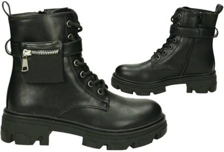 Enkellaarsjes voor dames   Stoere biker boots met veters - in 2 uitvoeringen