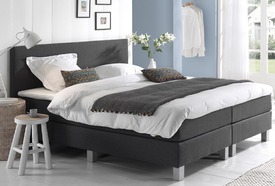 Dreamhouse Comfort 2.0 boxspring 90 x 200 cm - Antraciet + montage