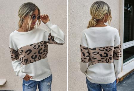 Panther sweater | Comfortabele dames trui met panterprint Bruin