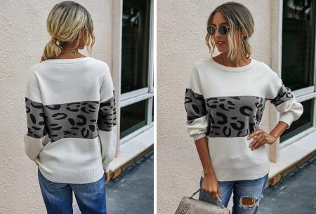 Panther sweater | Comfortabele dames trui met panterprint Grijs