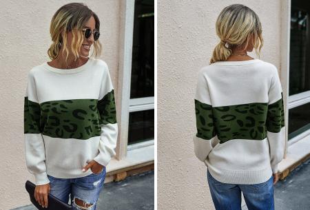Panther sweater | Comfortabele dames trui met panterprint Groen