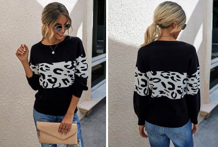 Panther sweater | Comfortabele dames trui met panterprint Zwart