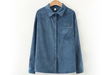 Blouse van corduroy | Trendy overhemd in 7 kleuren Donkerblauw