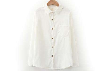 Blouse van corduroy | Trendy overhemd in 7 kleuren Wit