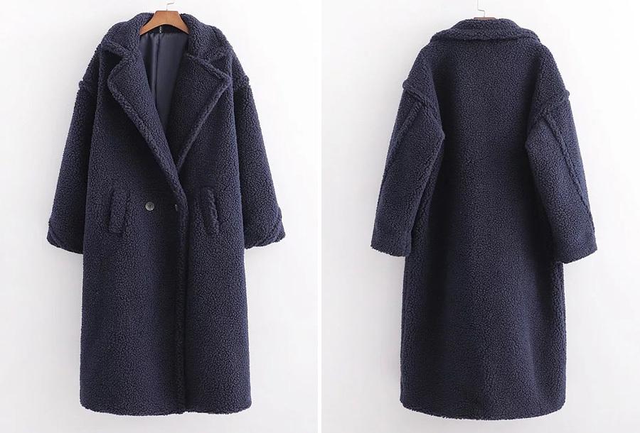 Lange winterjas van teddy stof - Donkerblauw - Maat XL