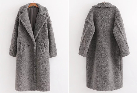 Superzachte teddy winterjas voor dames | Trendy teddy coat in 8 verschillende kleuren Grijs
