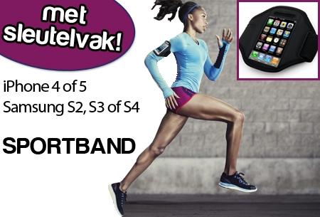 Handige sportband voor iPhone of Samsung met sleutelvak voor €5,95!