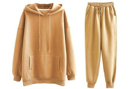 Fleece huispak dames | Warm en comfy joggingpak Camel