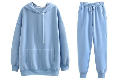 Fleece huispak dames | Warm en comfy joggingpak Lichtblauw