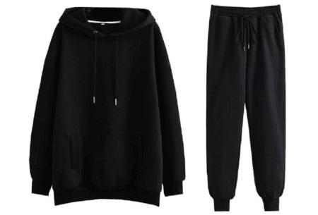 Fleece huispak dames | Warm en comfy joggingpak Zwart