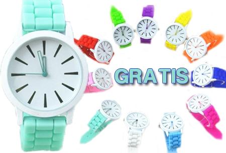 Siliconen Classic horloge, kleurrijk en klassiek t.w.v. €19,95 nu GRATIS!