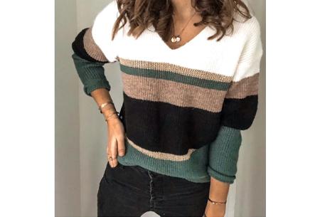 Comfy dames V-neck | Gestreepte & gebreide trui in 3 kleuren  Groen
