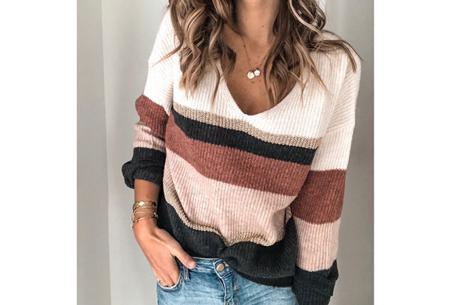 Comfy dames V-neck | Gestreepte & gebreide trui in 3 kleuren  Wijnrood