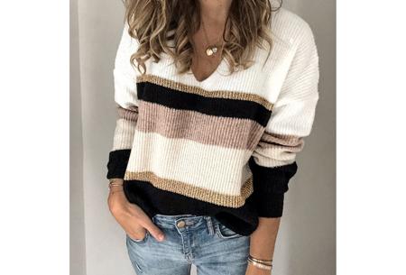 Comfy dames V-neck | Gestreepte & gebreide trui in 3 kleuren  Zwart