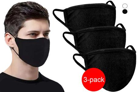 3-pack wasbare mondkapjes | Herbruikbare stoffen mondmaskers van 100% katoen