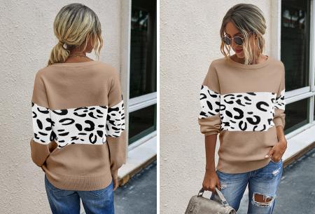 Panther sweater | Comfortabele dames trui met panterprint Beige