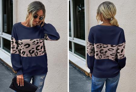 Panther sweater | Comfortabele dames trui met panterprint Blauw