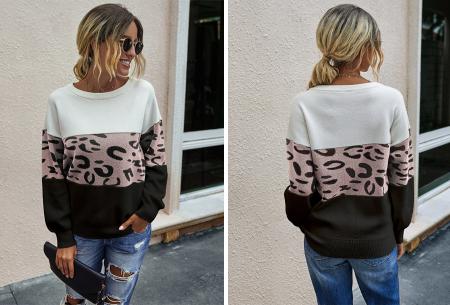 Panther sweater | Comfortabele dames trui met panterprint Zwart/wit