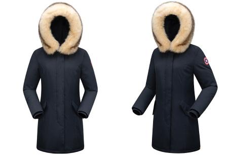 Subprime winterjas dames | Warme parka jas met afneembare imitatiebontkraag Hina - navy