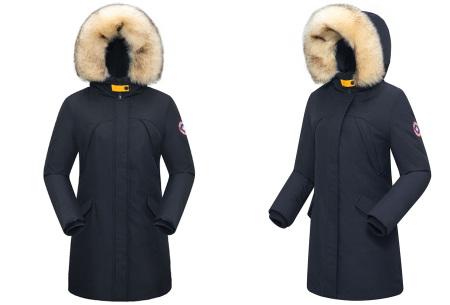 Subprime winterjas dames | Warme parka jas met afneembare imitatiebontkraag Holette - navy