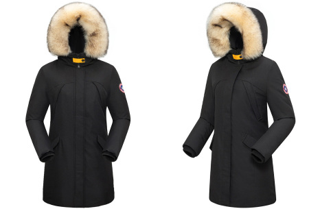 Subprime winterjas dames | Warme parka jas met afneembare imitatiebontkraag Holette - zwart