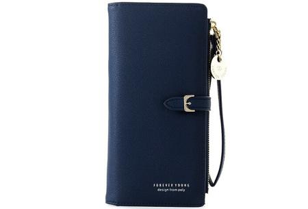 Portemonnee met telefoonvak | Dames portemonnee en telefoontasje in één! Donkerblauw