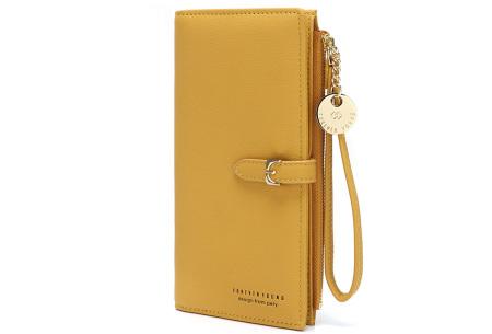 Portemonnee met telefoonvak | Dames portemonnee en telefoontasje in één! Geel