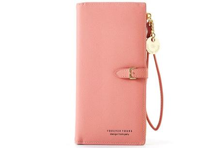 Portemonnee met telefoonvak | Dames portemonnee en telefoontasje in één! Roze