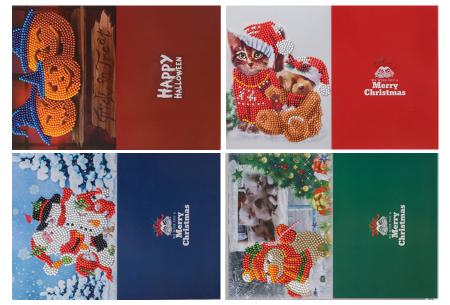 Diamond painting kerstkaarten set | Maak zelf de mooiste kerstkaarten  Pakket 3