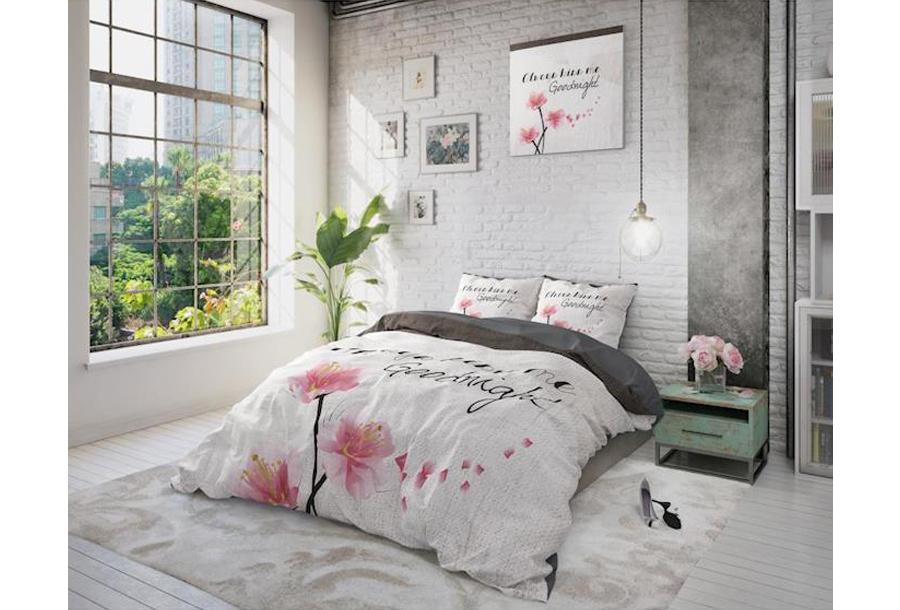 Dekbedovertrekken met print van Dreamhouse Maat 240 x 220 cm - Always Kiss Me Goodnight Grey