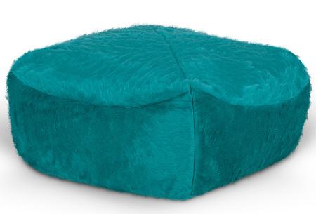 Drop & Sit Furry zitzak   Keuze uit 17 kleuren en 3 soorten - in verschillende maten! Aqua - poef vierkant