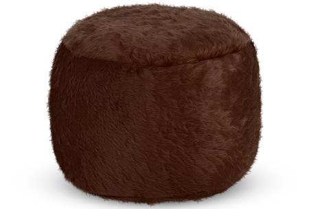 Drop & Sit Furry zitzak   Keuze uit 17 kleuren en 3 soorten - in verschillende maten! Donkerbruin - poef rond