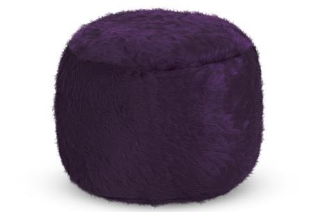 Drop & Sit Furry zitzak   Keuze uit 17 kleuren en 3 soorten - in verschillende maten! Donkerpaars - poef rond