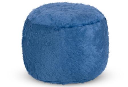 Drop & Sit Furry zitzak   Keuze uit 17 kleuren en 3 soorten - in verschillende maten! Kobalt - poef rond