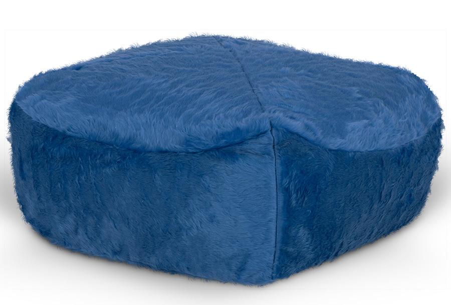 Drop & Sit Furry zitzak Poef - Afmeting 65 x 65 cm - Kobalt