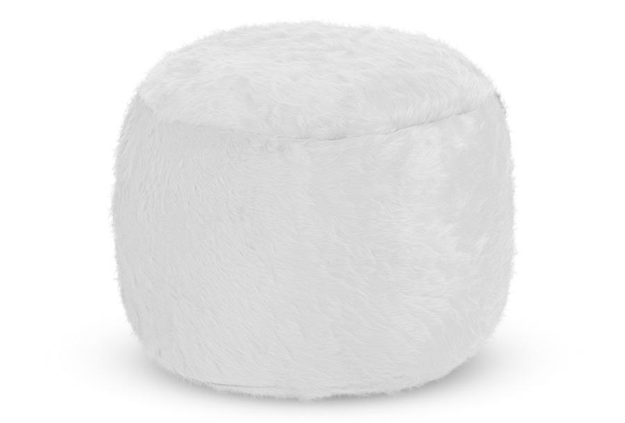 Drop & Sit Furry zitzak Poef - Afmeting 50 cm (diameter) - Lichtgrijs