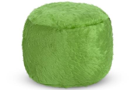 Drop & Sit Furry zitzak   Keuze uit 17 kleuren en 3 soorten - in verschillende maten! Lichtgroen - poef rond