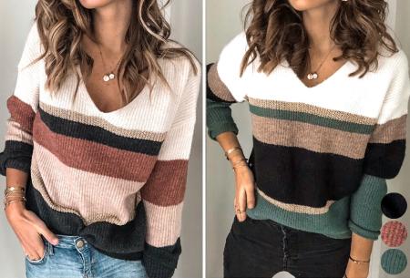 Comfy dames V-neck | Gestreepte & gebreide trui in 3 kleuren