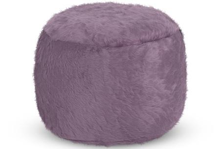 Drop & Sit Furry zitzak   Keuze uit 17 kleuren en 3 soorten - in verschillende maten! Lichtpaars - poef rond